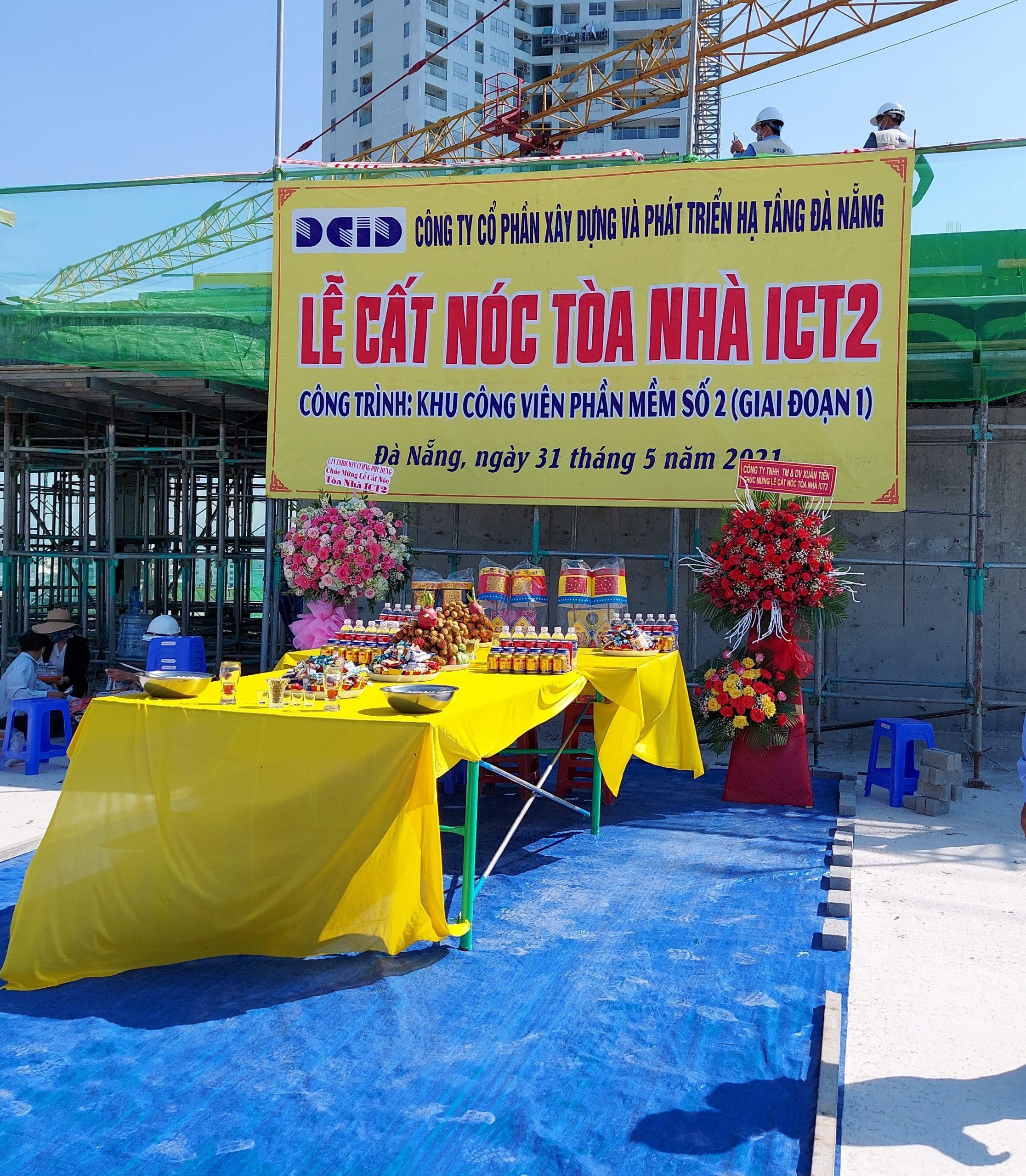 DCID tổ chức cất nóc Tòa nhà văn phòng ICT 2 thuộc công trình Khu công viên phần mềm số 2 (giai đoạn 1)